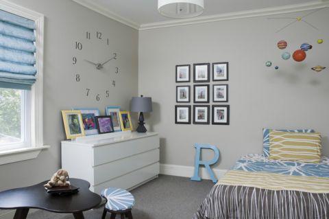儿童房灰色照片墙混搭风格装潢效果图
