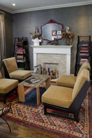 客厅黄色细节混搭风格装饰设计图片