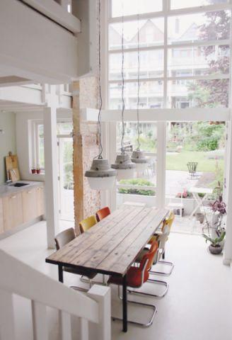 餐厅灰色餐桌混搭风格装饰图片
