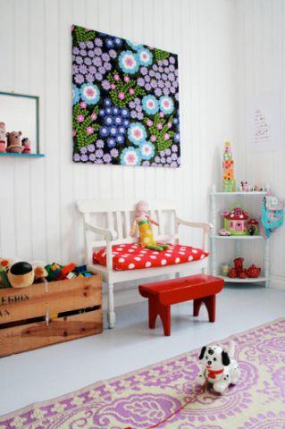 儿童房白色照片墙混搭风格装饰设计图片
