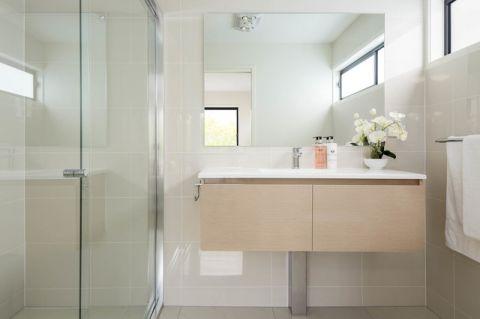 卫生间橙色橱柜混搭风格装饰图片