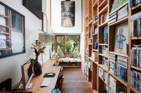 书房背景墙混搭风格装饰效果图