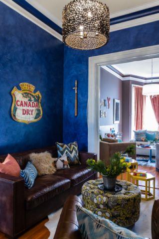 客厅蓝色背景墙混搭风格装潢设计图片