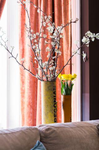 客厅橙色窗帘混搭风格装修图片