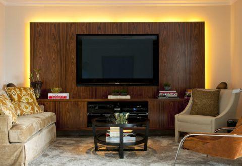 客厅咖啡色背景墙混搭风格装饰效果图