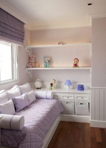 儿童房紫色榻榻米混搭风格装潢效果图