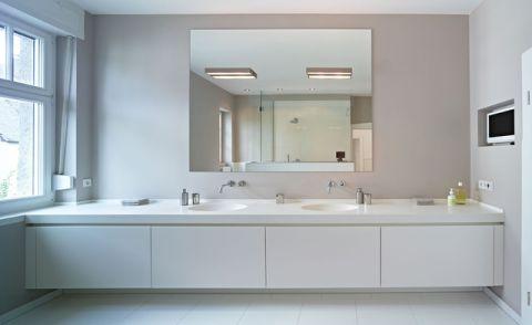 卫生间白色橱柜混搭风格装饰图片