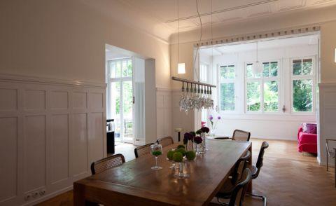 餐厅白色背景墙混搭风格装潢设计图片