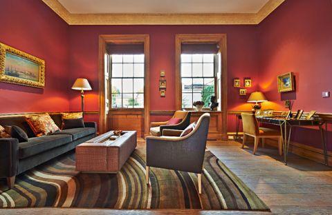 客厅红色背景墙混搭风格装潢图片