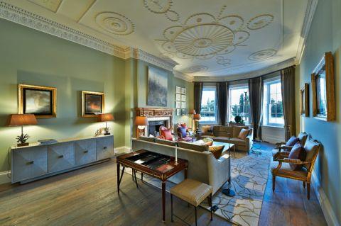 客厅米色吊顶混搭风格装饰设计图片