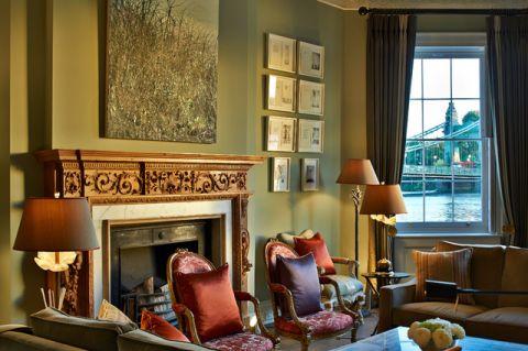 客厅黄色背景墙混搭风格效果图