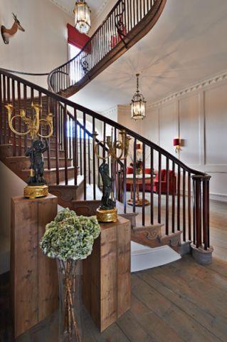 客厅咖啡色楼梯混搭风格装饰效果图
