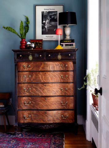 卧室蓝色背景墙混搭风格装修设计图片