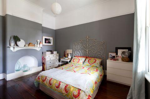 卧室灰色背景墙混搭风格装饰设计图片