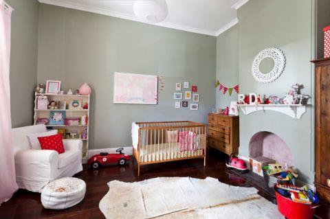 儿童房绿色背景墙混搭风格效果图