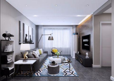 领秀城93平米现代简约两室一厅装修效果图