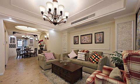 百盛苑小区90平美式三居室效果图