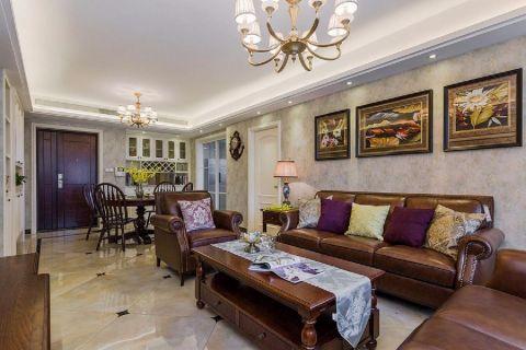 青龙湾100平复古美式三居室装修效果图