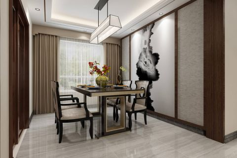 餐厅背景墙新中式风格装潢图片