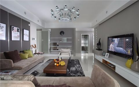 路劲城市印象125平方现代简约风格两室装修效果图
