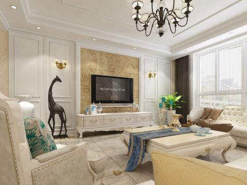 大富山庄110平欧式风格三居室装修效果图