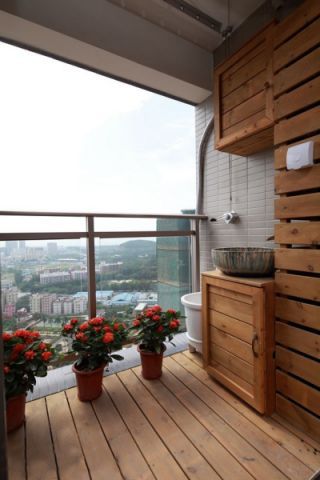 阳台地板砖混搭风格装潢效果图