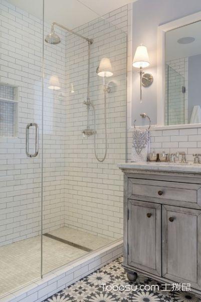 卫生间白色隔断简欧风格装饰效果图