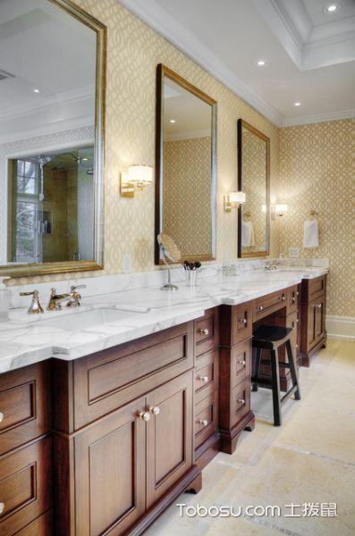 卫生间咖啡色吧台美式风格装饰效果图