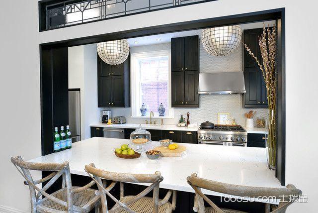 厨房黑色隔断美式风格装饰图片