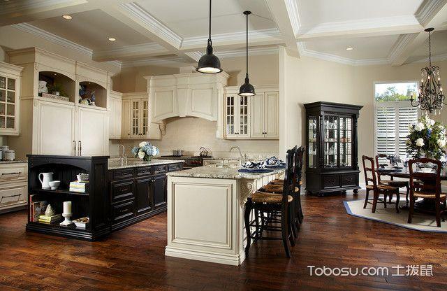 厨房咖啡色吧台美式风格装修效果图
