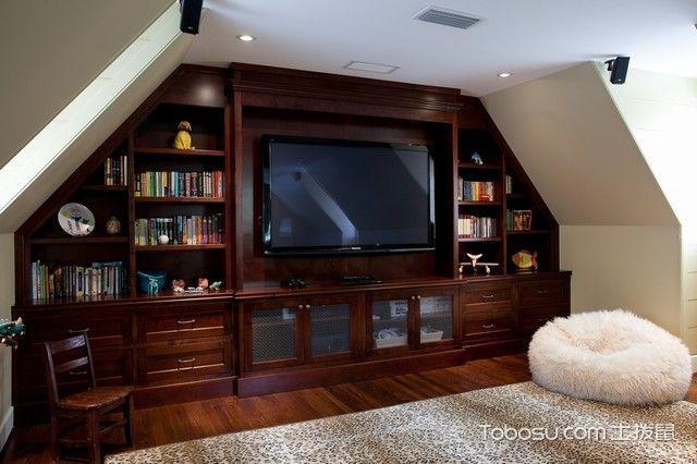客厅红色书架美式风格装潢设计图片