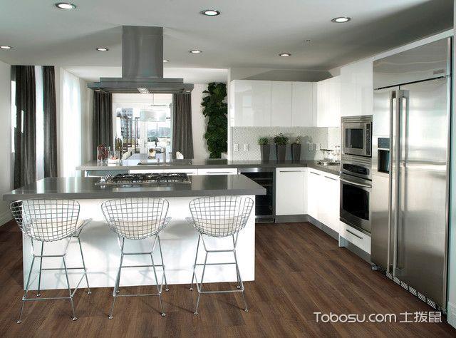 厨房灰色吧台简欧风格装修设计图片