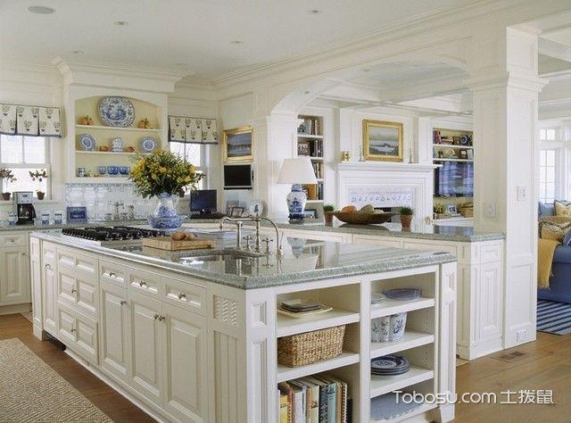 厨房白色吧台简欧风格装修图片