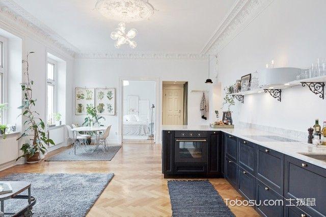 厨房白色吊顶简欧风格装饰图片