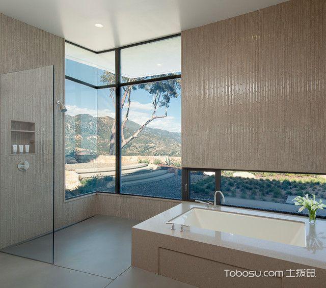卫生间米色窗台现代风格装修图片