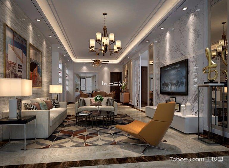 远洋天祺120平现代三居室装修效果图