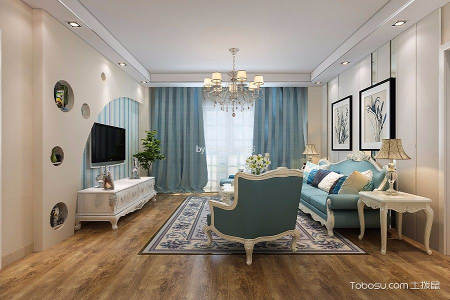 地大橡树园100平米欧式风格两居室装修效果图