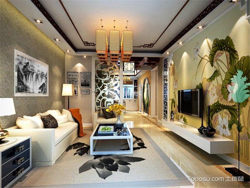 路劲太阳城112平中式风格三居室装修效果图