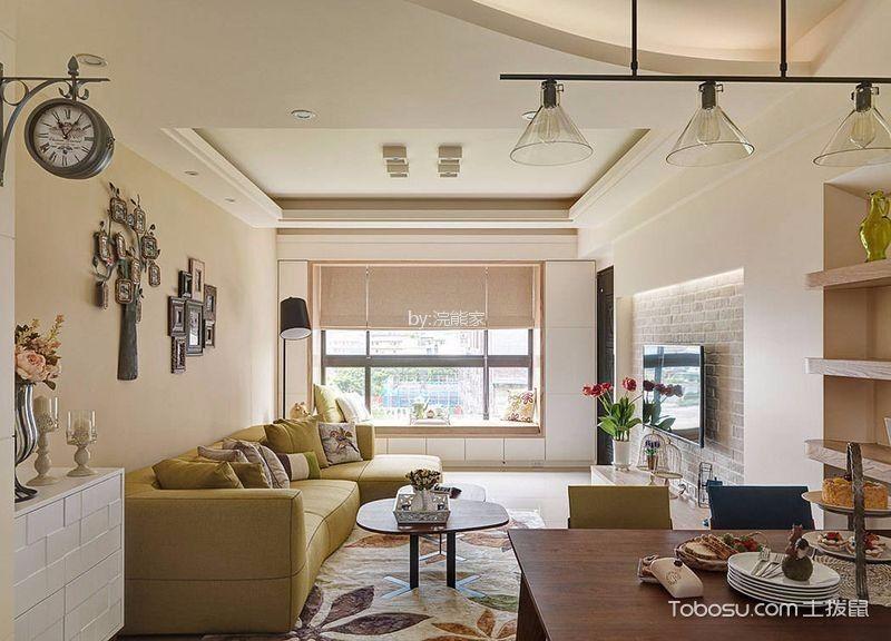 北欧风格97平米三室两厅新房装修效果图