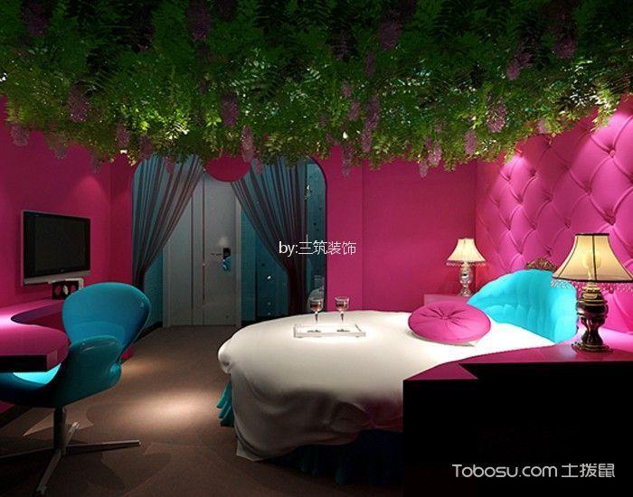蜜桃湾主题酒店标准房粉色背景墙装修图片