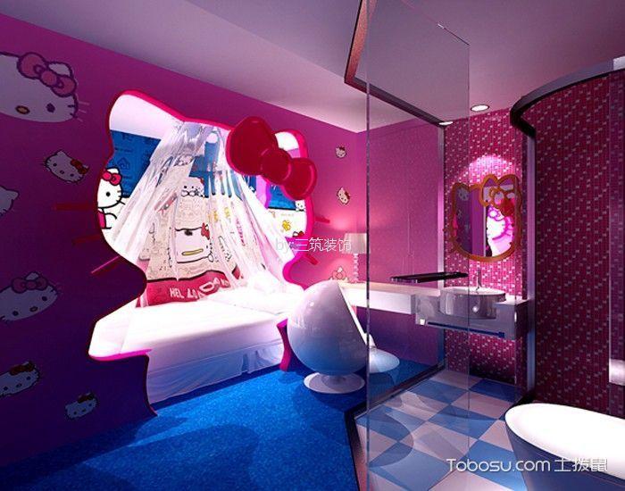 蜜桃湾主题酒店标准房蓝色地板装修图片
