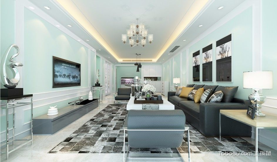 雅居乐剑桥郡124平现代简约三居室装修效果图