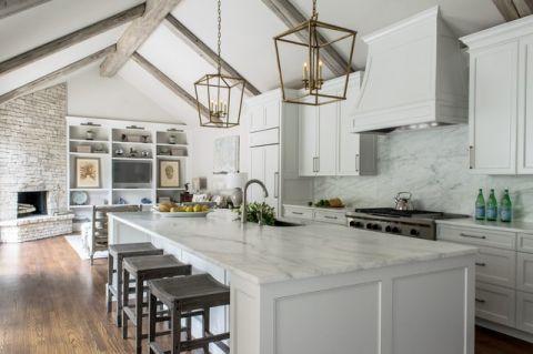 温暖美式风格厨房装修效果图_土拨鼠2017装修图片大全