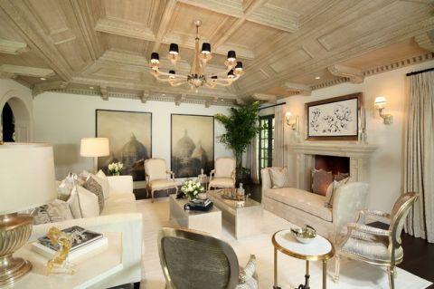 客厅吊顶简欧风格装潢图片