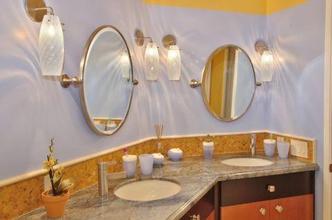 卫生间紫色背景墙简欧风格装潢效果图