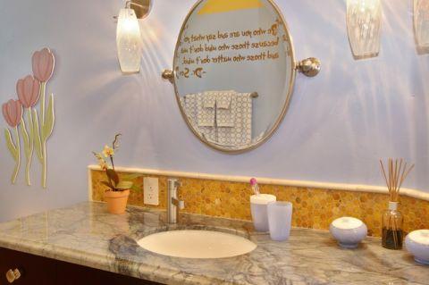 卫生间紫色背景墙简欧风格装修图片