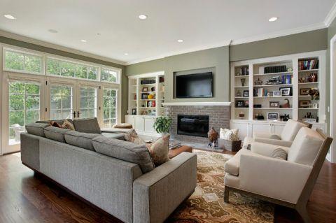 客厅白色细节简欧风格装潢设计图片
