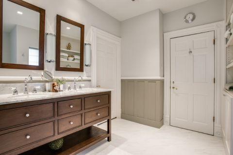 卫生间咖啡色橱柜简欧风格装潢效果图