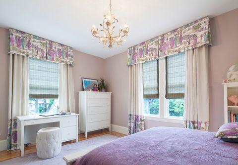 儿童房粉色窗帘简欧风格装修图片