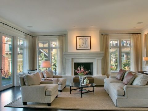 客厅米色背景墙美式风格装饰图片